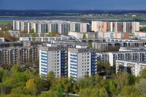 Aerial view of the modern residential district of Marzahn in Ber
