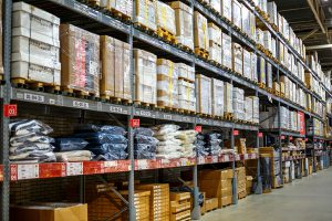 Warehouse, storage room in a large store. Laid out the goods on